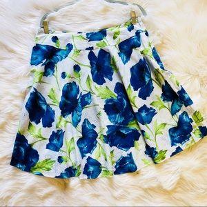 Sag Harbor White Eyelet Skirt Blue Poppies Floral